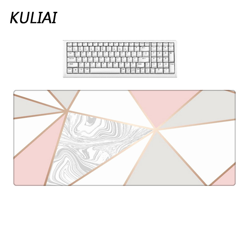 XGZ Fashion Gray White Pink Marble Floor Pattern Mouse Pad Office Desktop Decoration Mat Large Size Bluetooth Keyboard Pads