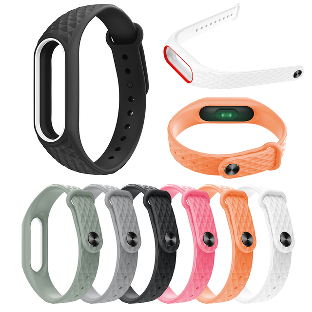 2019 NEW Colorful Diamond Miband 2 Strap Newest Silicone Mi 2 Wrist Strap Correa Mi Band 2 Smart Bracelet Wristband Replacemet