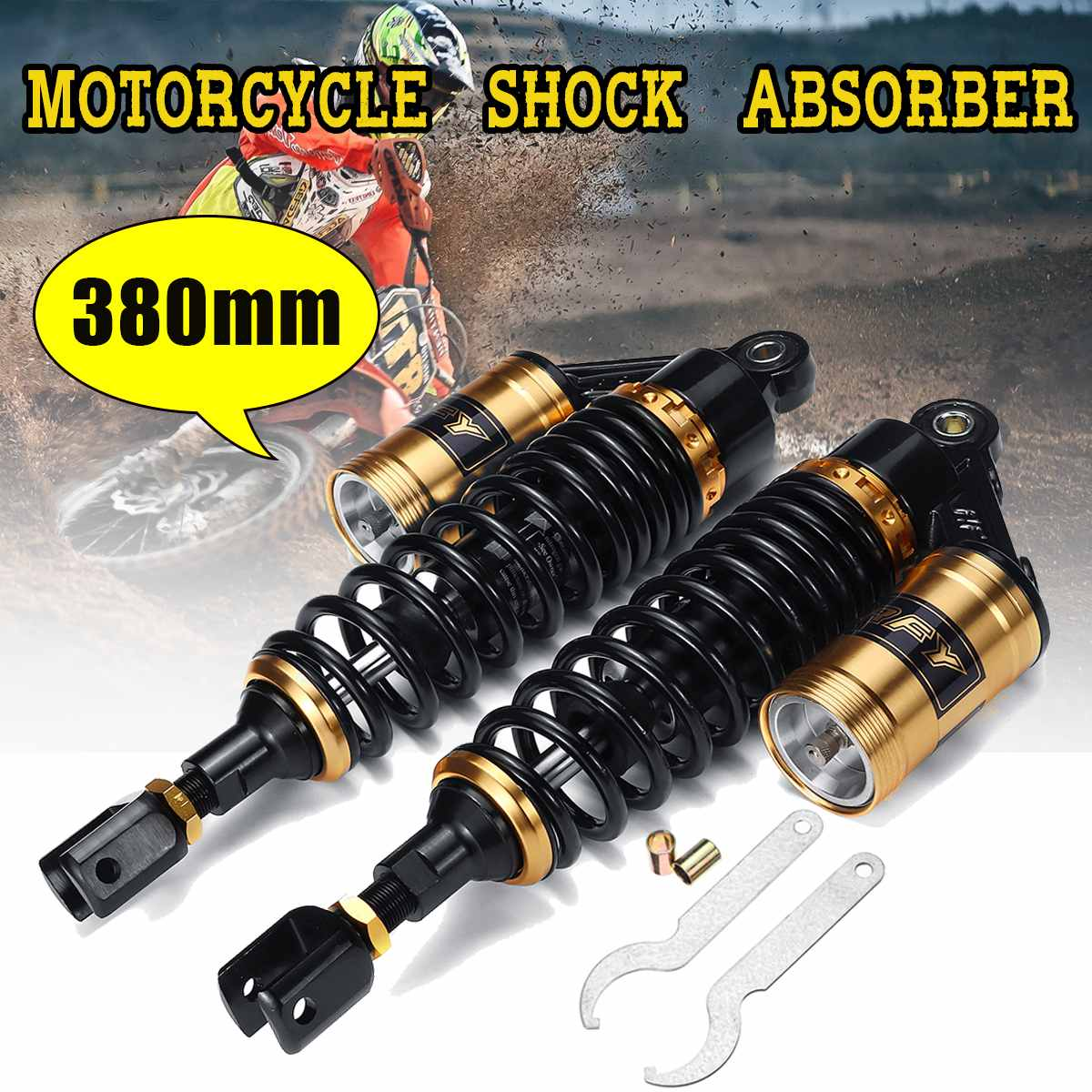 Pair 15 380mm Motorcycle Rear Air Shock Absorber Suspension For Honda/Yamaha/Suzuki Scooter ATV QuadPair 15 380mm Motorcycle Rear Air Shock Absorber Suspension For Honda/Yamaha/Suzuki Scooter ATV Quad