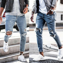 Men's Ripped Jeans Skinny Homme Knee Holes Slim Fit Pencil Pants Destroyed Frayed Denim Trousers Fashion Design Light Blue Cool