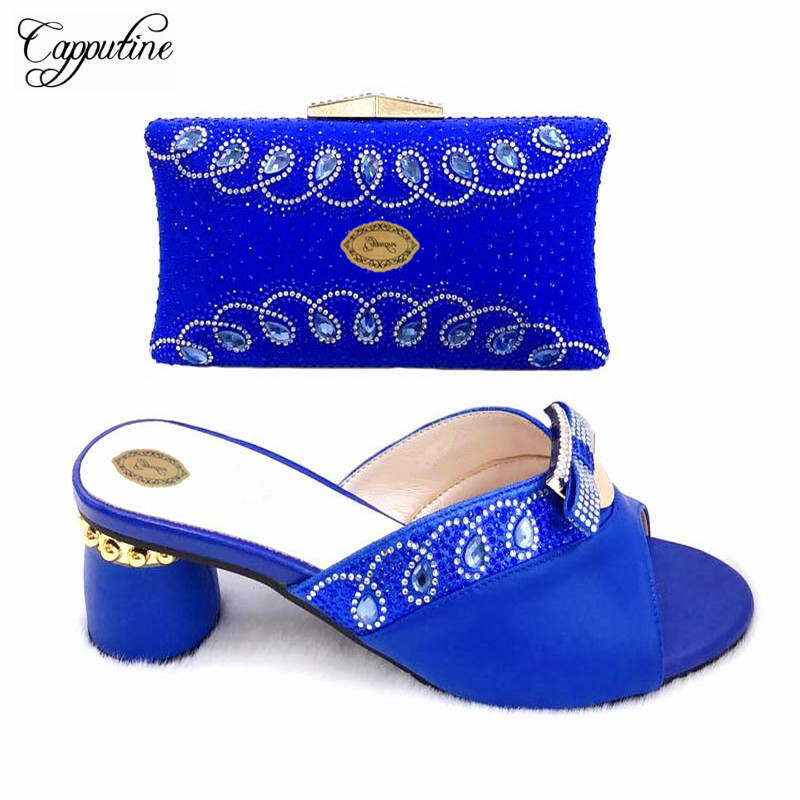 Capputine Nigerian Style PU Decorated With Rhinestone Shoes And Bag Sets 2019 Italian Shoes With Matching Bag Set For Wedding Capputine Nigerian Style PU Decorated With Rhinestone Shoes And Bag Sets 2019 Italian Shoes With Matching Bag Set For Wedding