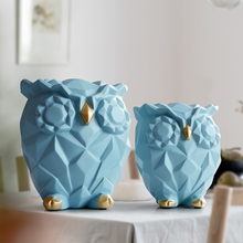 Resin figurine for gift cute Owls Animal Statues home decoration fairy Garden Kids room craft toy statues lovely Geometric