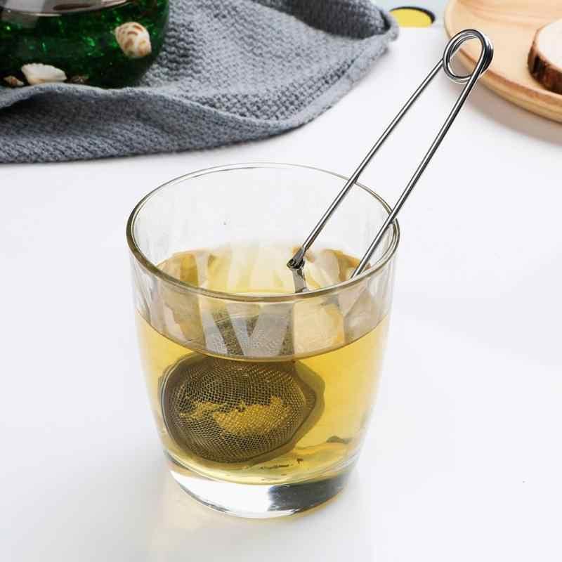 ステンレス鋼スパイスフィルター再利用可能な金属ティーバッグスパイス茶ツールアクセサリーティーポットハンドルメッシュボール茶ストレーナー茶注入器