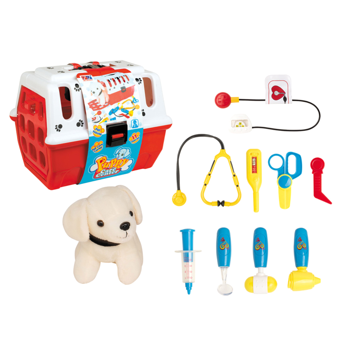 11Pcs Children Pretend Play Cosplay Pet Care Center Toy Pet Veterinarian Playset Character Pretend Play Doctor Set Pet Care Shop