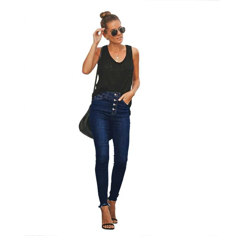 NEW-Women'S New Distressed Slim Button Jeans Femme High Waist High Elasticity Stretch Skinny Denim Pencil Pants Trousers