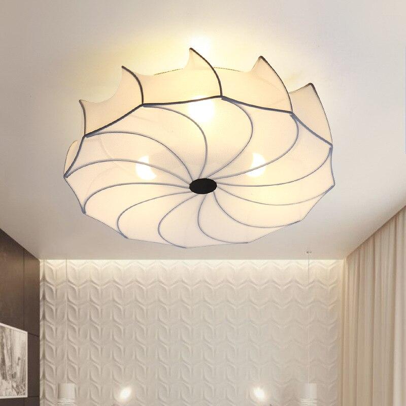 Europe du nord Simple plafonnier rond tissu japonais coréen moderne petit salon chambre la lampe d'étude E27