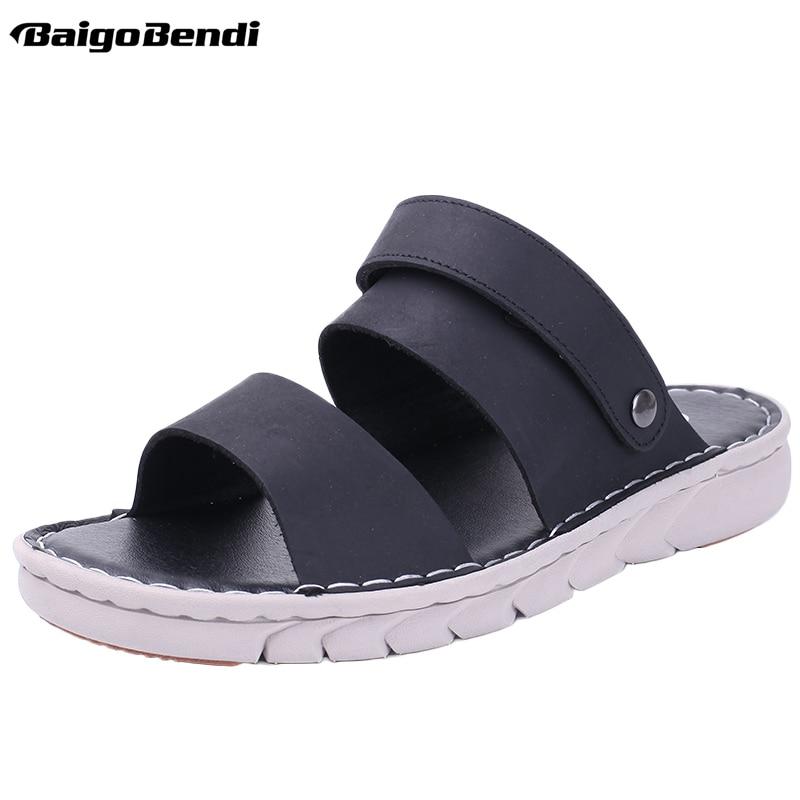 Ayakk.'ten Erkek Sandaletleri'de 2019 Yaz Sandalet Erkekler Rahat Kaymaz Terlik Gerçek Deri plaj ayakkabısı Tatil Slaytlar'da  Grup 1