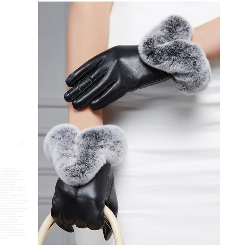 Winter Ladies Simulation Leather Simulation U-shaped Mouth Touch Screen Gloves Pu Warm Black Red Full Palm