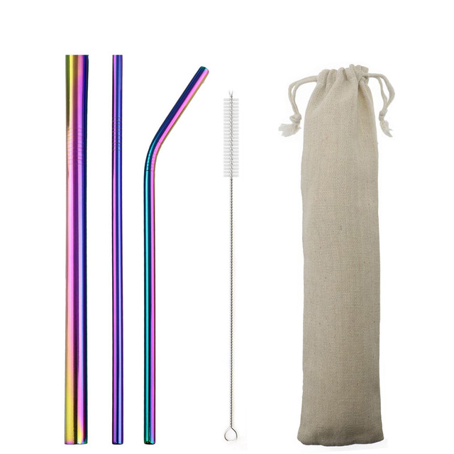 US $0 6 33% OFF|5pcs Reusable 304 Stainless Steel Straw Metal Smoothies  Drinking Straight Straws Silicone Cover with Brush Bag Wholesale-in  Drinking
