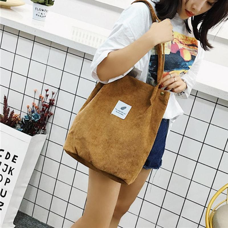 Bags Corduroy Tote Shopping Handbag Ladies Shoulder Bag Cotton Cloth Handbag Foldable Beach Shopper Bag