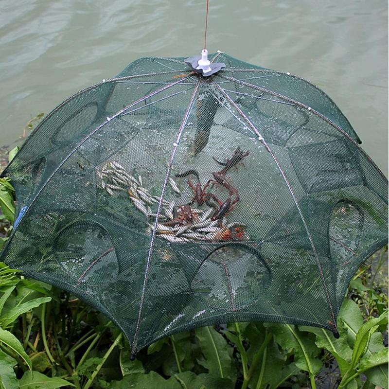 4-16 Holes Automatic Fishing Trap Net Strengthened Shrimp Cage Nylon Foldable Crab Fish Trap Net Cast Folding Fishing Network