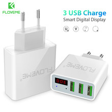 FLOVEME 3 USB Fast Charger For Samsung S9 Plus 15W Ports+LED Display Portable Phone Chargers iPhone 5S SE 6S 7 8 X 10