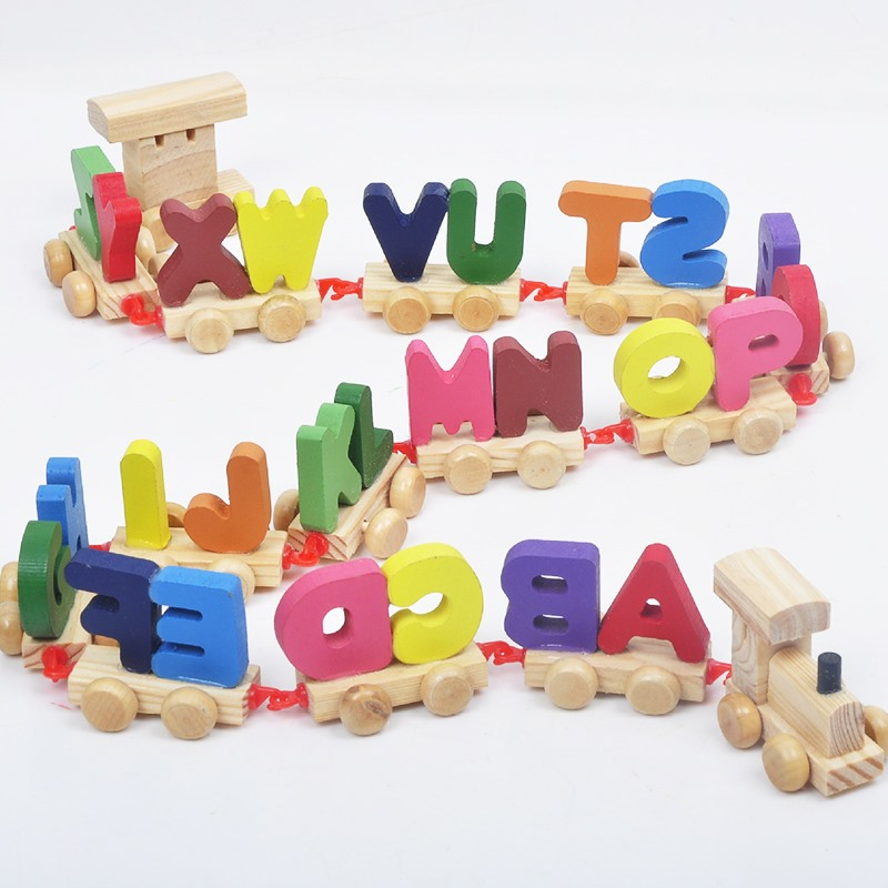 Kids Children Puzzle Toys Train 26 Letters Toys Alphabet Wooden Colourful Train Letters Personalized Oyuncak Wooden Toys Gift