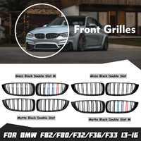 Pair Front Hood Kidney Sport Grills Grille Gloss/Matte Black For BMW F82 F80 F32 F36 F33 4 Series 2013 2016