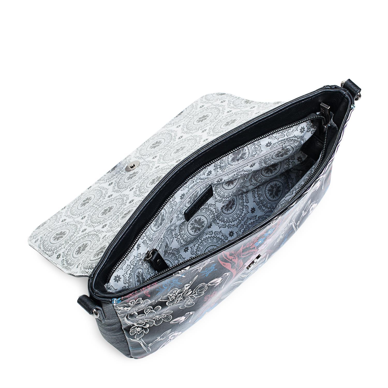 Colección Pierre Bolso Bandolera De Mujer Con Asa de hombro ajustable, exterior en lona Lona bordado flores ,Color Negro 95561 5