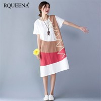 Rqueena 2019 Summer Korean Women's Dresses Long Cotton Linen Dresses White Woman Loose Short Sleeve Casual Dress For Women LD003