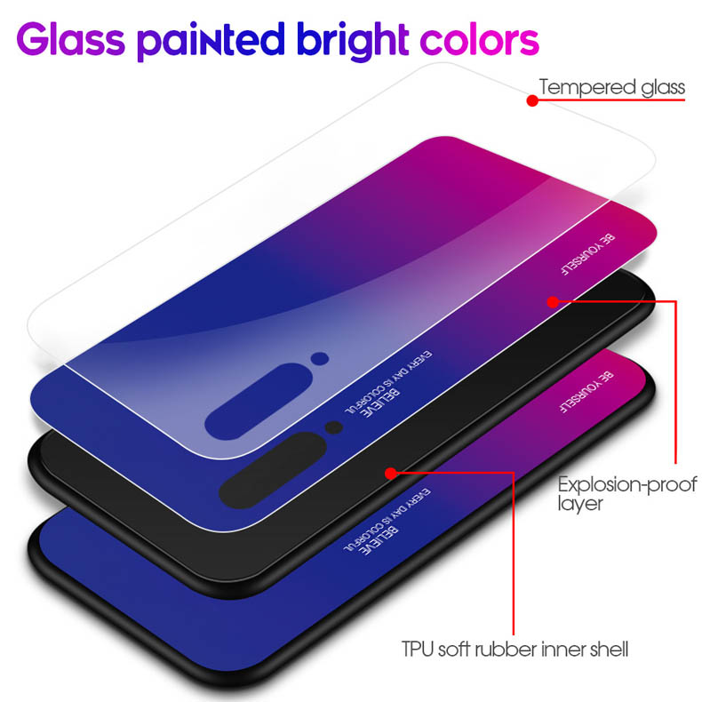Image 4 - TPU soft edge Gradient glass back phone case for xiaomi 6 mi9 Pocophone F1 9T protective case
