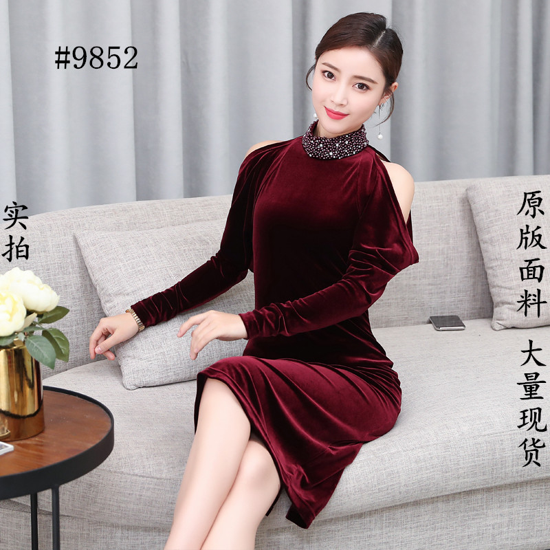 9852 Femmes Bleu Mince Rosée Vintage Rouge Vin Robe Hanche Socialite Robes Marine New Avec Épaule Velours UwHqTx