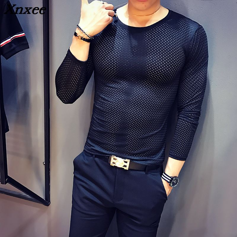 Mens T Shirts Fashion 2018 Transparent shirts Hollow See Through British Black Tee Homme Slim Fit Tight