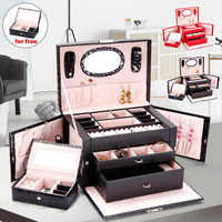 PU Leather Portable Large Cosmetic Case Beauty Cosmetic Drawer Makeup Organizer Makeup Case Jewelry Travel Storage Box Suitcase