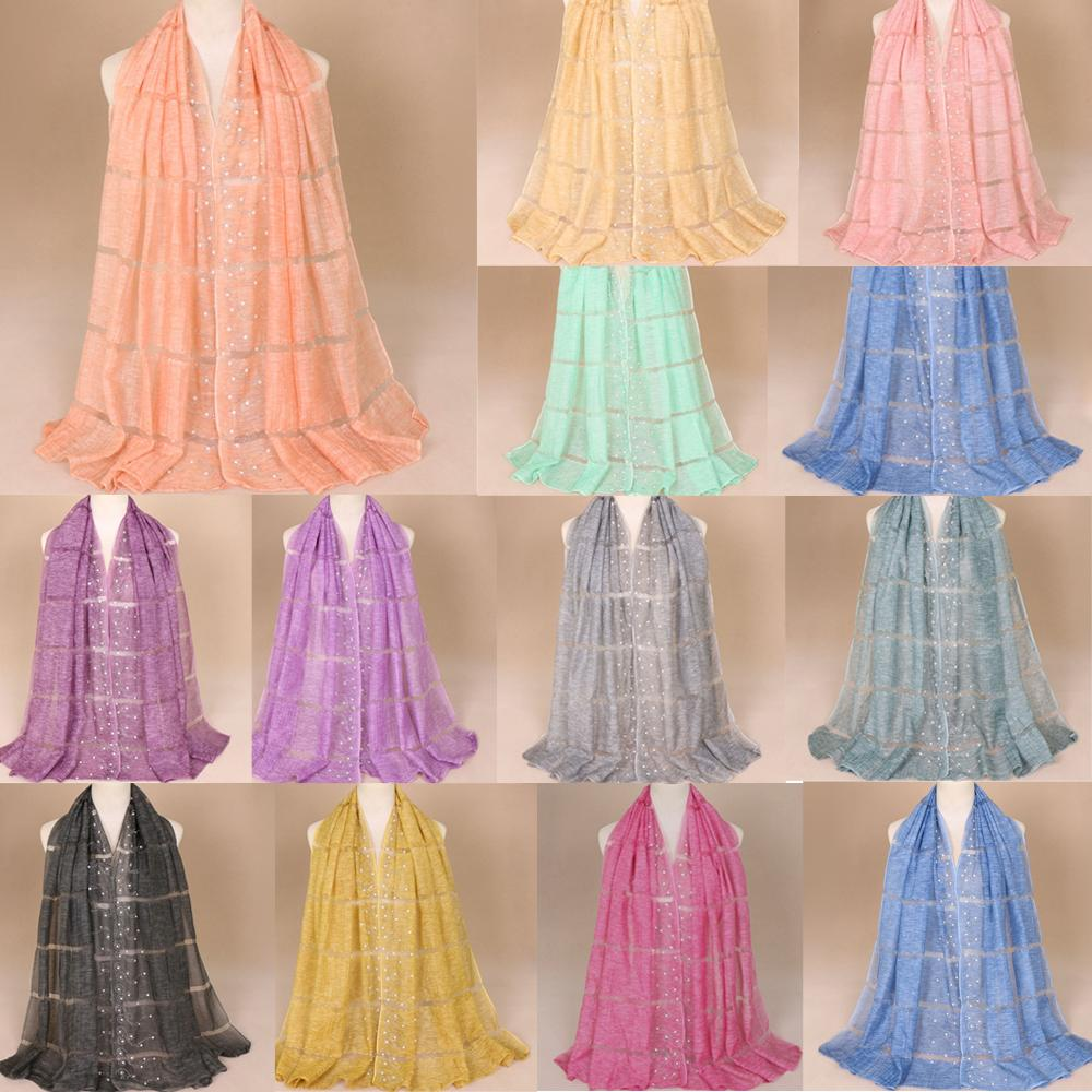 170*75cm Muslim Women Maxi Rhinestones Hijab Shawl   Scarf     Wrap   Headcover Long Large Stole Lace Patchwork Turban Beading Pashmina
