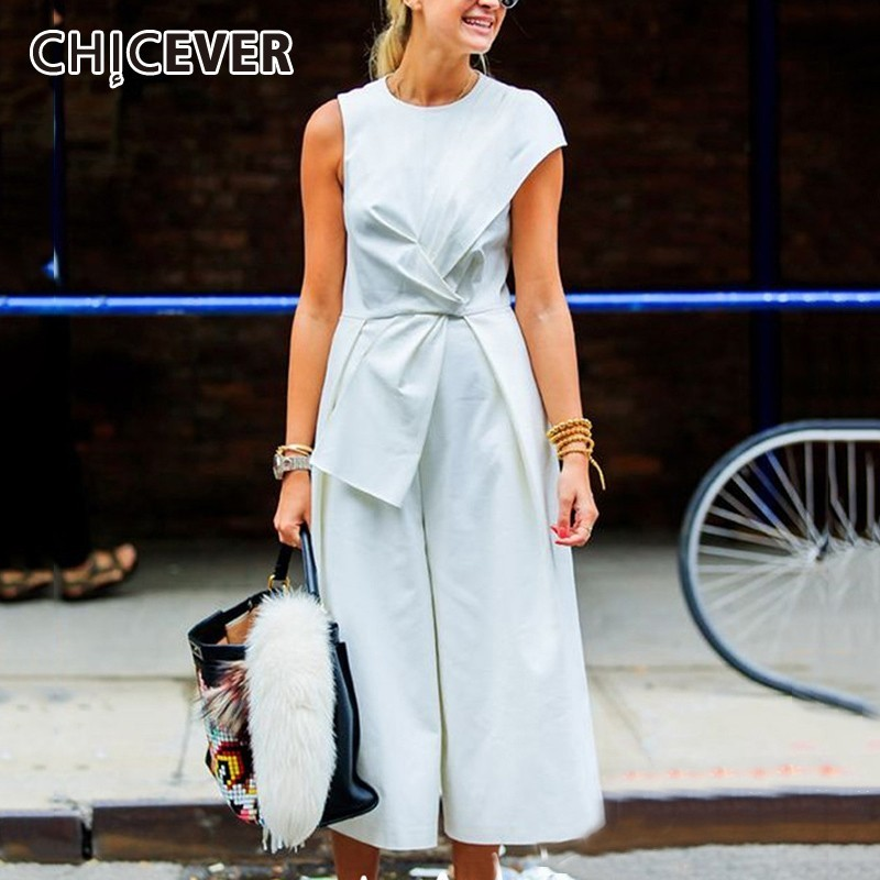 CHICEVER Sleeveless Tank Jumpsuits Female Patchwork Tunic High Waist Ankle Length Wide Leg Trousers Summer Women's Clothes New