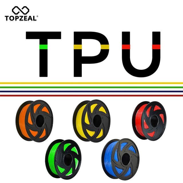 TOPZEAL 3D Printer TPU Filament 1.75mm Dimensional Accuracy +/-0.02mm 3D Printing Material Plastic for RepRap