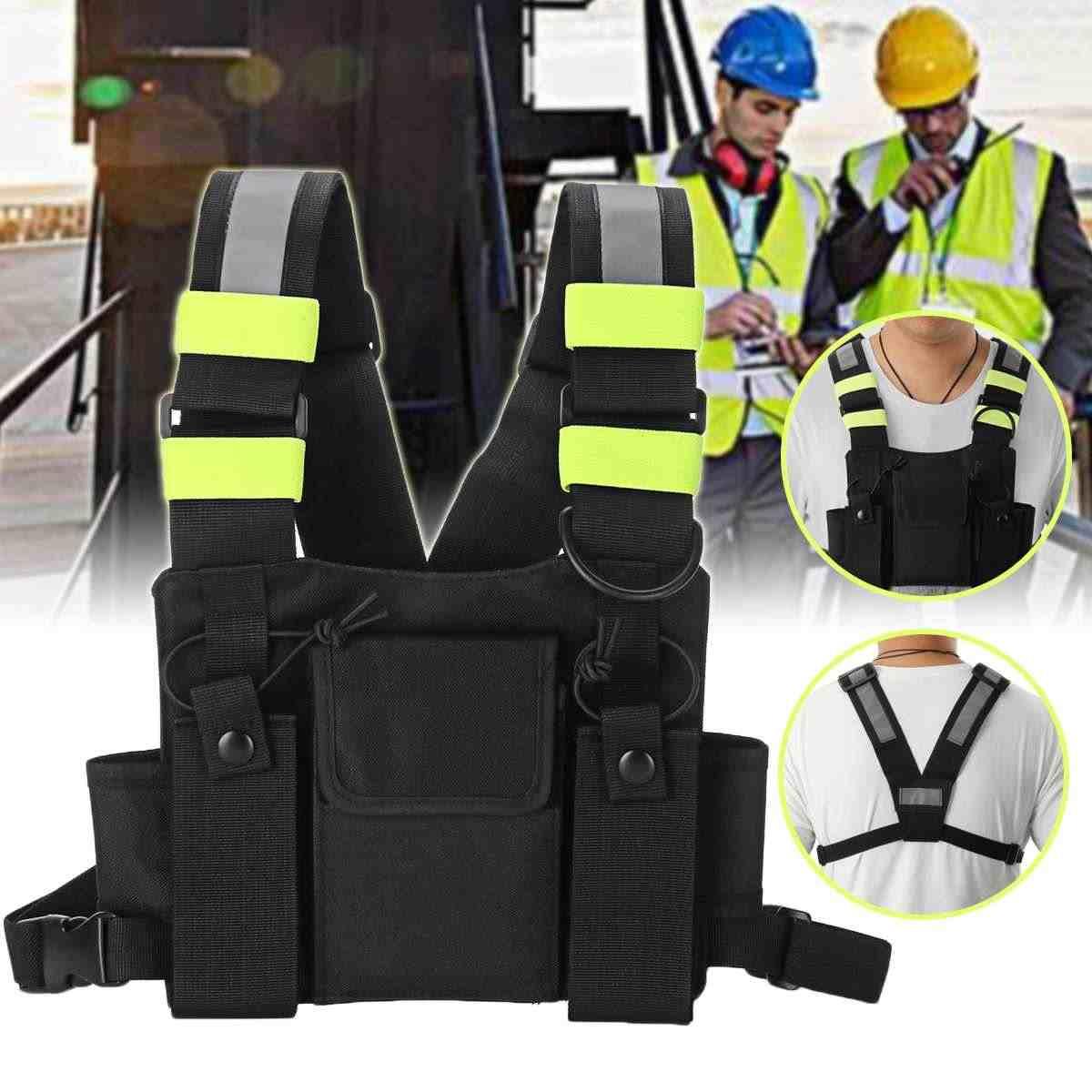 راديو مربط صدر الصدر الجبهة حزمة الحقيبة الحافظة سترة تزوير حقيبة صدر للرجال اسلكية تخاطب ل موتورولا ل Baofeng