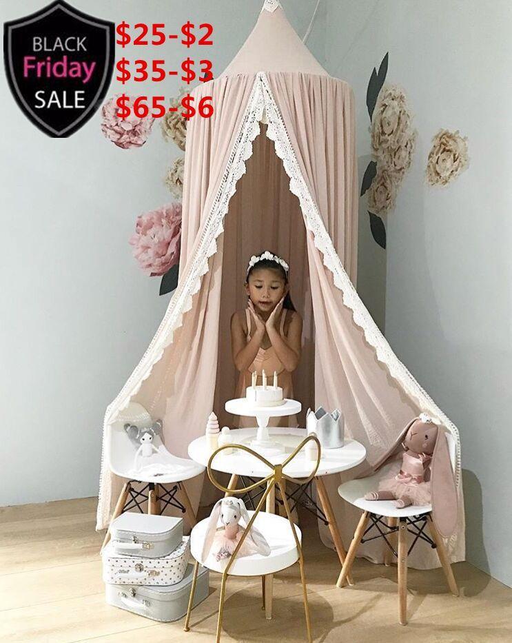 Детские украшения Принцесса хлопок пудра кровать шторы детская кровать Baldachin кроватки навес висит Играть Палатка чтение Nook детская комната