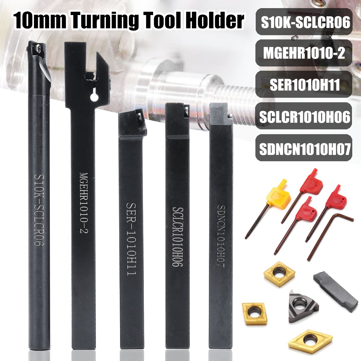 WOLIKE 5pcs 10MM Shank Turning Tool Holder Set With Inserts Blade Wrench For Bench Lathe And CNC
