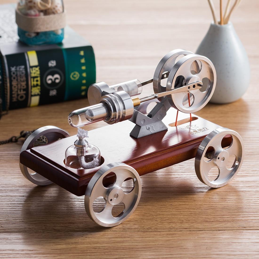 Children Educational Toys Solid Wood Baseplate DIY Stirling Engine Car Stem Steam Model Set for Kid Learning Science Gift