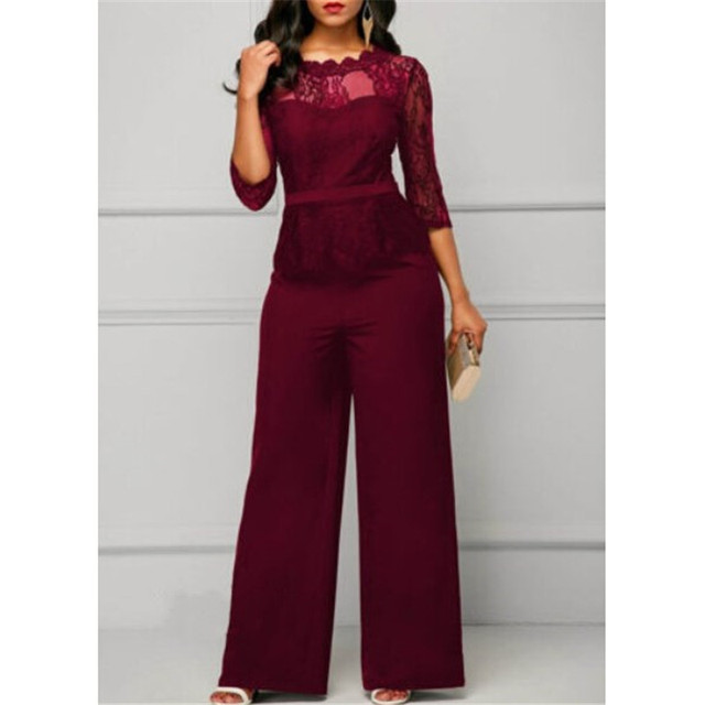 Fashion Women Plus Size Jumpsuit Hot Sale Loose Solid Color Playsuit Party Romper Half Lace Sleeve Party Elegant Long Jumpsuit
