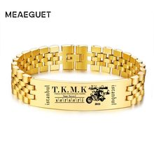 Customized Men's Stainless Steel Bracelet Design Brands Gold Color Chain Link Name Logo Record Pulsera Free Engraving(China)