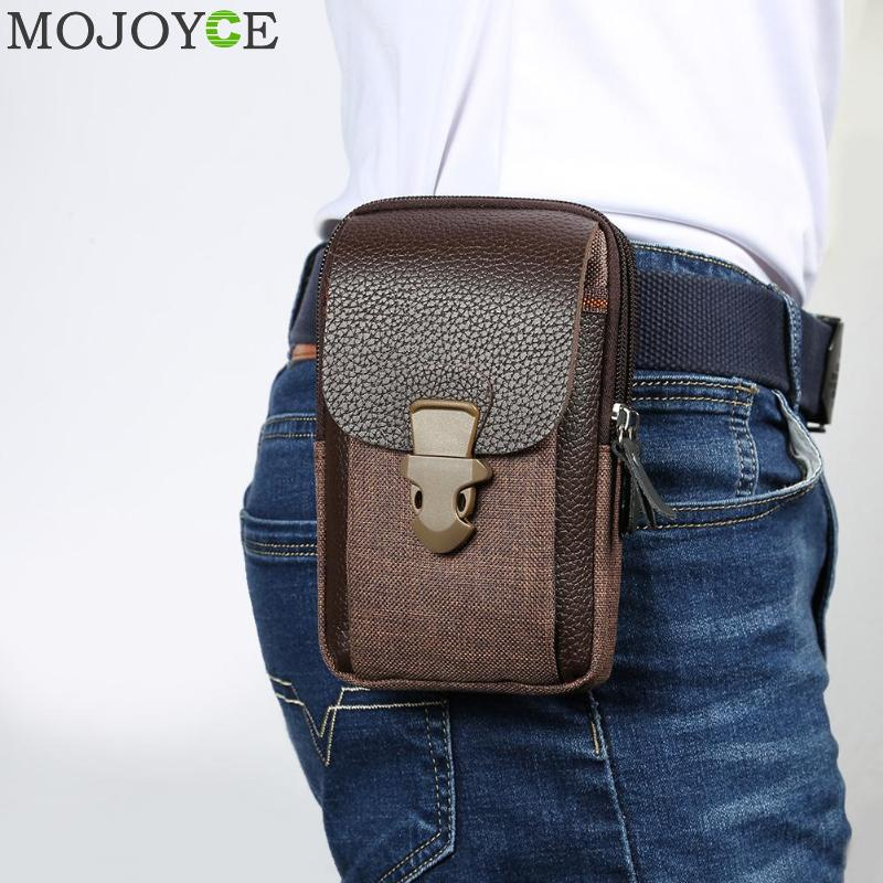 Male Casual Zipper Men Waist Bags Small Solid Color Card Holder 6 Inch Phone Packs Belt Fanny Purse