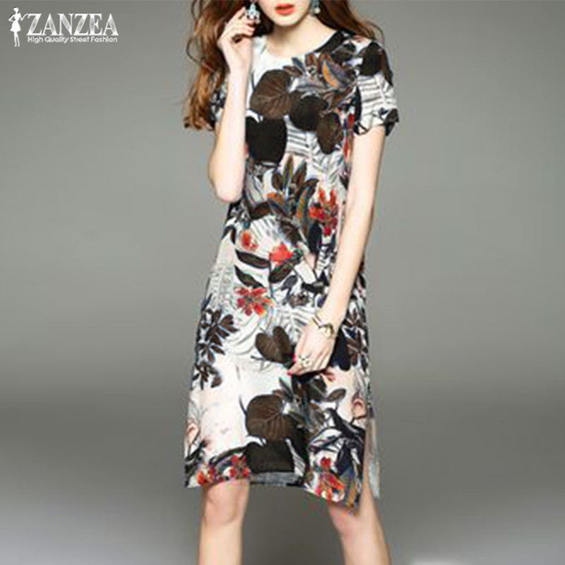 Plus Size Floral Printed Women's Party Dress 2019 ZANZEA Sundress Elegant Beach Summer Vestidos Kaftan Short Sleeve Robe Fmme