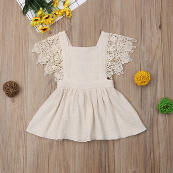 Vintage Infant Newborn Baby Girls Dress Summer Lace Ruffles Princess Baby Girl Dresses Party Travel Holiday Costumes 1