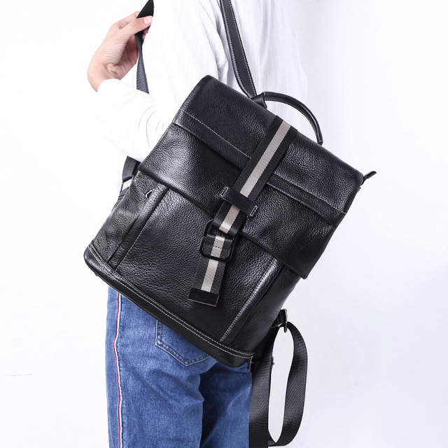 6c22d02b5b4f 2019 New Ladies Large Capacity Leather Backpack Simple Luxury Black  Backpack Good Quality Woman Shopping Travel Laptop Bag