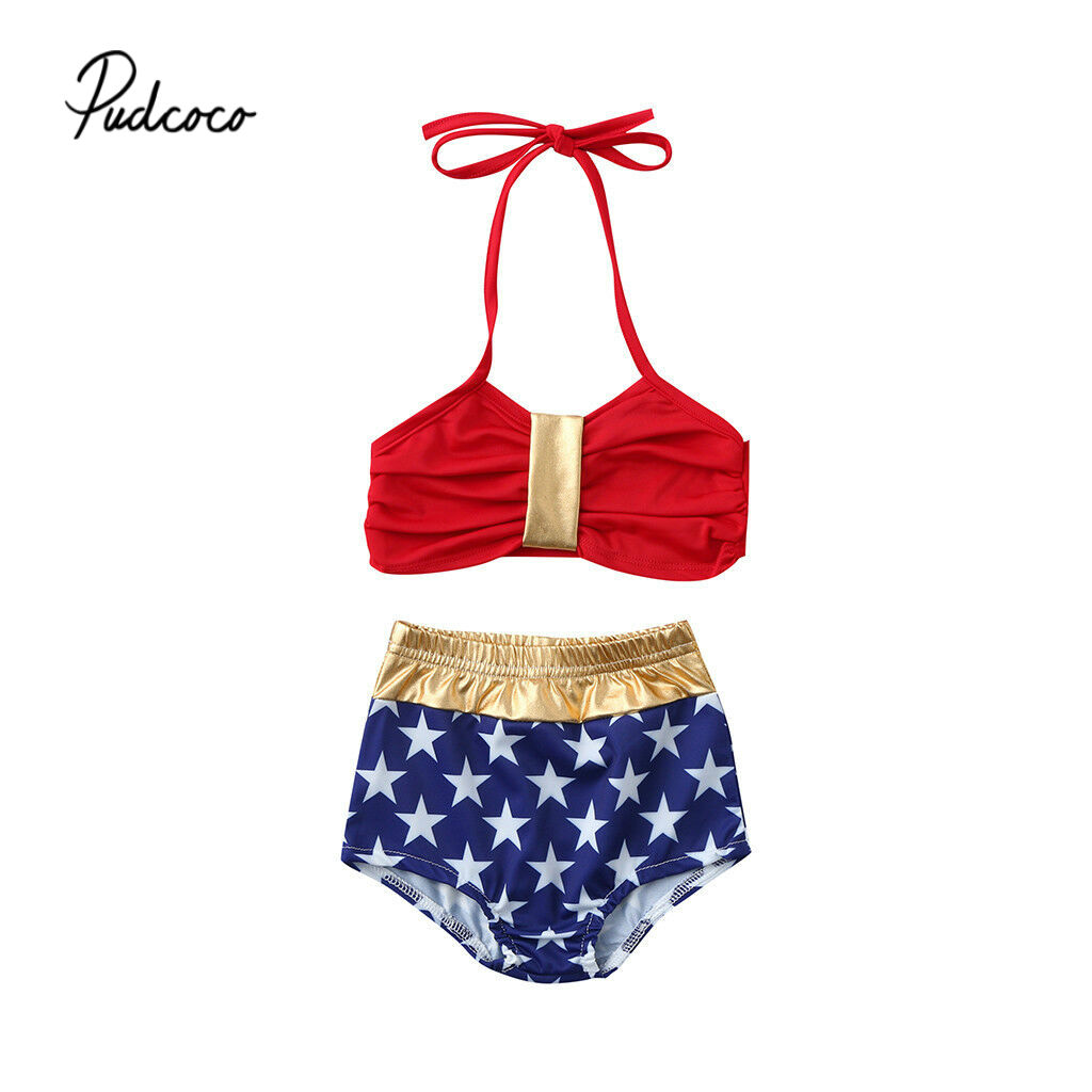 d5cff860aa 2019 2pcs Kids Baby Girls Star Off-shoulder Backless Bikini Set Swimwear  Swimsuit Bathing Suit