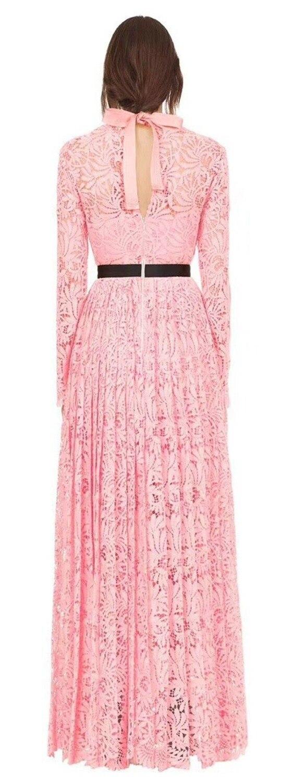 Manches Parti 2018 Femmes Plissée Longue Robe Dentelle Élégante Qualité Nouveau Rose Haute Pleine De Arrivent 0w4Uvx0