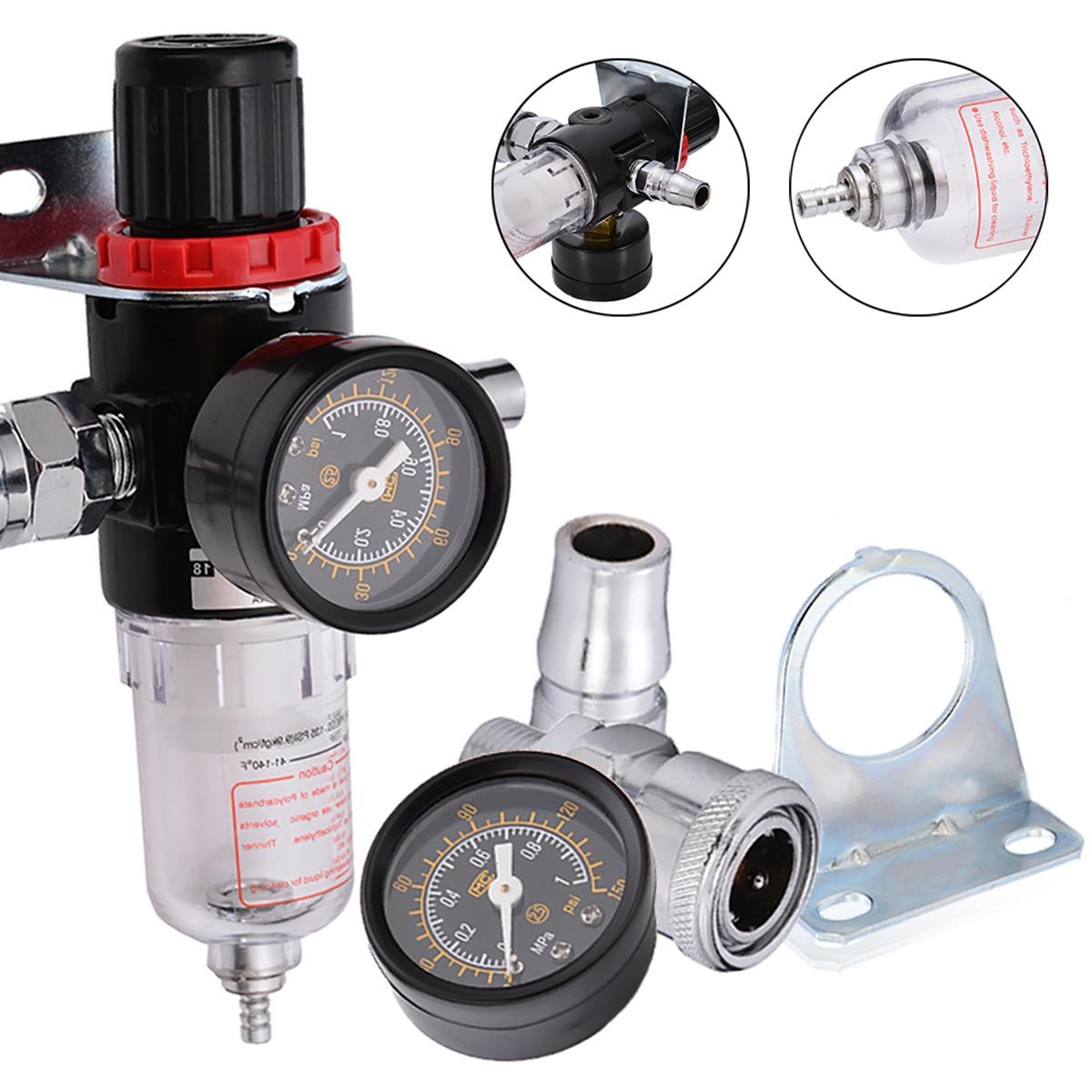 1set AFR2000 Oil Water Filter 1/4 Air Compressor Oil Water Regulator Filter Pressure Gauge Moisture Trap aw5000 10 1 4 air filter regulator moisture trap pressure gauge compressor