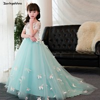 Mint Green Princess Long Girls Pageant Dresses 2019 Short Sleeve Lace Flower Girl Dresses for Weddings Ball Gowns for Girls