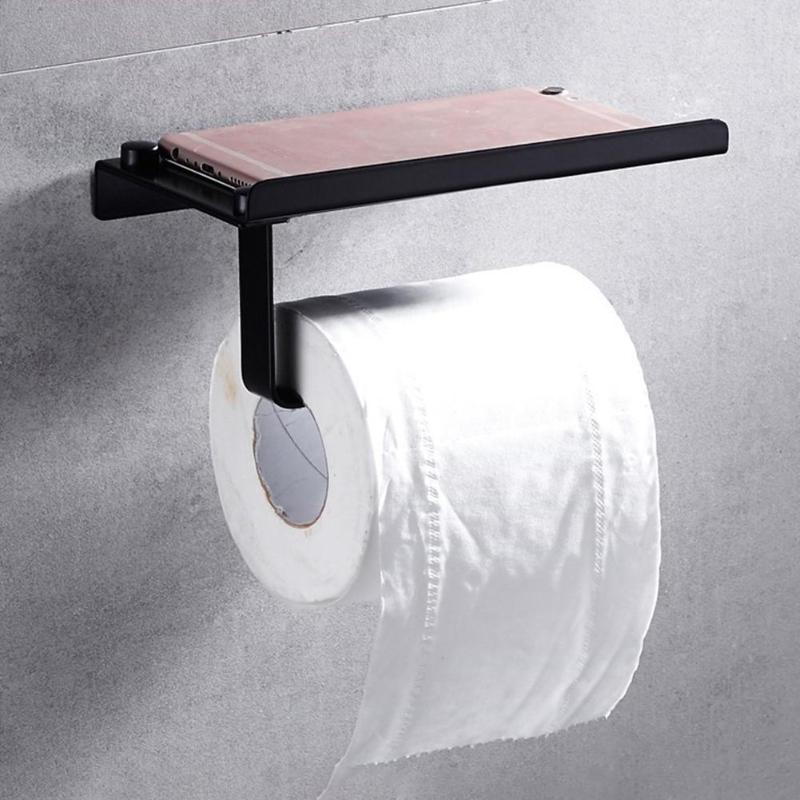 Stainless Steel Paper Towel Rack Wall Mounted Toilet Roll Paper Holder Shelf Bathroom Tissue Storage Shelf Rack Organizer