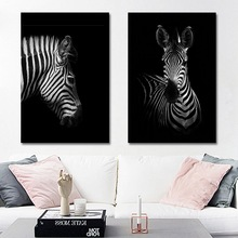 Canvas Art Animal Posters And Prints Black and White Giraffe Elephant Zebra Painting For Living Room Wall Decorative Picture