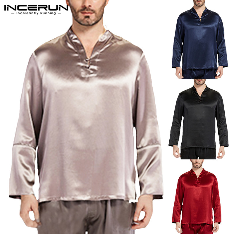 INCERUN Men Sleep Tops Long Sleeve Soft Silk Satin Homewear Fashion V-neck Solid Color Comfortable Sleepwear Male Tops 2019