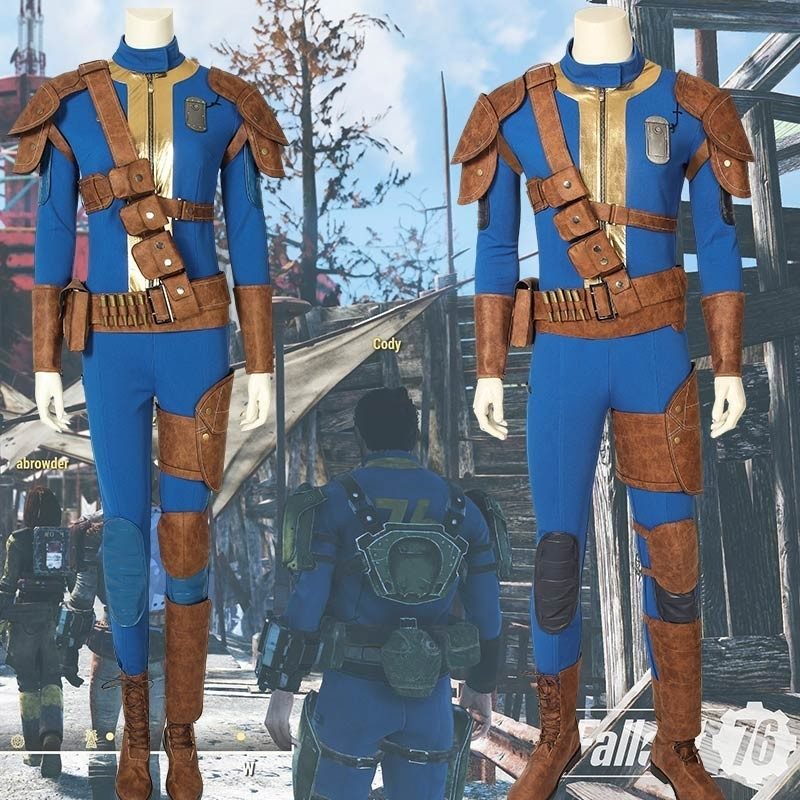 PC Game Fallout 76 Cosplay Nate Costume Jumpsuit Halloween Adult Sole Survivor Suit Superhero Outfit Without Boots With Strap