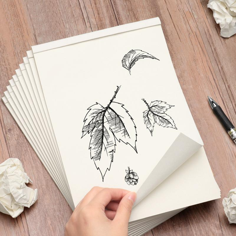 A4 Notebook Blank Inner Page Graffiti Draft Sketchbook Thickened Beige Paper For Sketching Note Painting 40 Pages