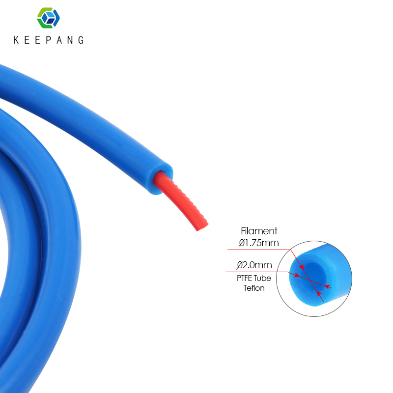 Kee Pang 1M Teflon Tube 3D Printer Accessories Blue PTFE Tube Remote Nozzle Feeding Tube 2mmX4mm High Temperature Resistance