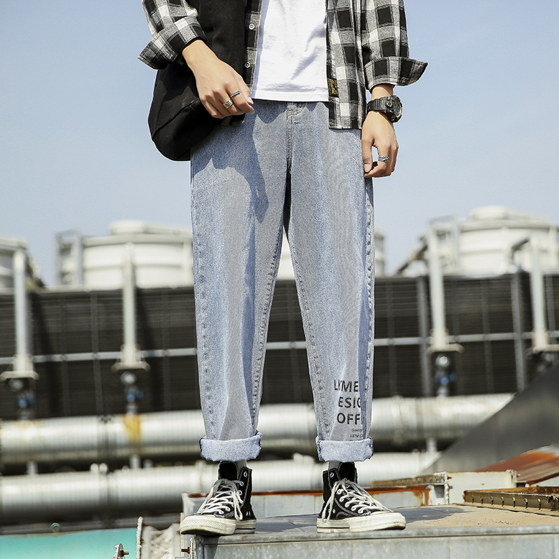 Men's Jeans 2019 Summer New Youth Popular Loose Wind Drape Straight Wide Leg Pants Hip Hop Old Pants Youth Casual Men's Clothing
