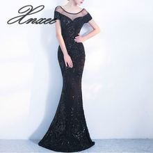 Elegant Backless Long Dress Mermaid Black Party Sequins Maxi