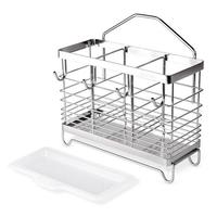 Punch free 304 Stainless Steel Chopsticks Holder Suction Cup Wall Hanging Kitchen Storage Shelf Rack for Home Kitchen Supply